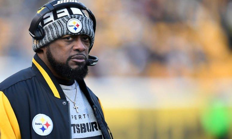 Mike Tomlin wearing a Steelers hat in Pittsburgh.