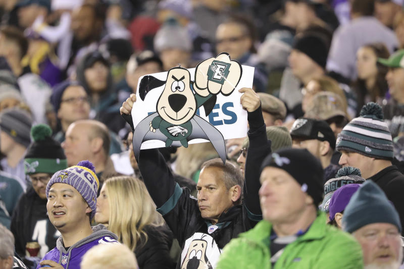 A fan holds a sign during the NFC championship NFL football game between the Philadelphia Eagles and the Minnesota Vikings on Sunday, Jan. 21, 2018, in Philadelphia. (David Maialetti/The Philadelphia Inquirer via AP)