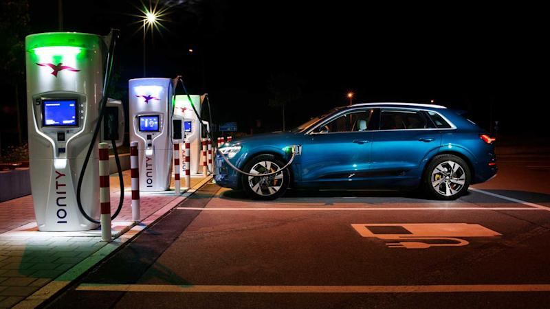 Audi e-tron charging at IONITY station