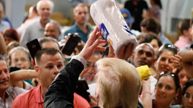 In his first visit to Puerto Rico following the devastation of Hurricane Maria, President Donald Trump tossed paper towels at suffering survivors Tuesday.