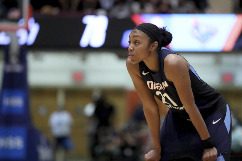 Atlanta Dream's Renee Montgomery is seen against the New York Liberty in the second half of a WNBA basketball game, Sunday, Aug. 12, 2018 in New York. (AP Photo/Gregory Payan)