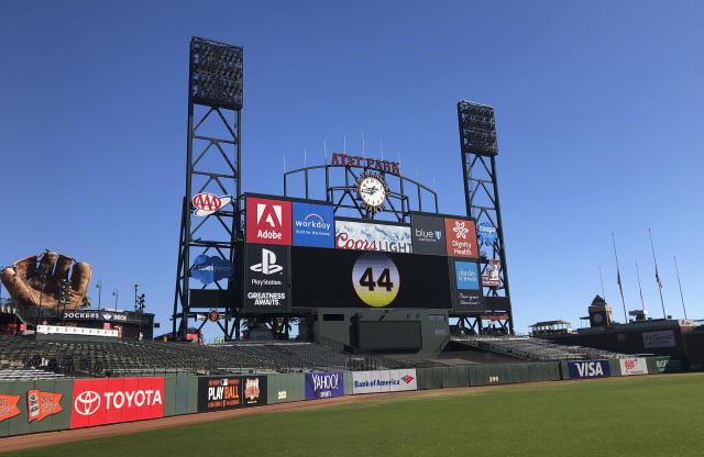 The number 44 for Hall of Famer Willie McCovey is displayed on the center field scoreboard at AT&T Park in San Francisco, Wednesday, Nov. 7, 2018. On Thursday the team will hold a public celebration of life for McCovey at the park. McCovey died on Oct. 31, 2018 at age 80. (AP Photo/Janie McCauley)