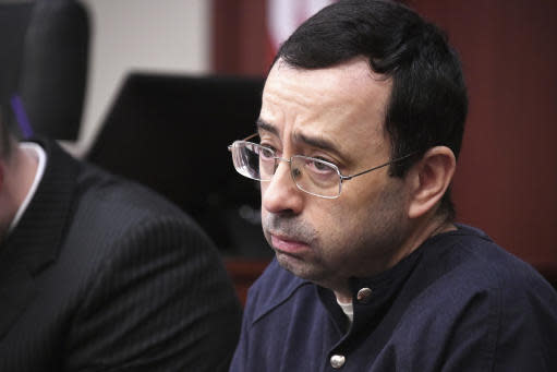 Larry Nassar looks at the gallery in court during the sixth day of his sentencing hearing Tuesday in Lansing, Mich. (AP)