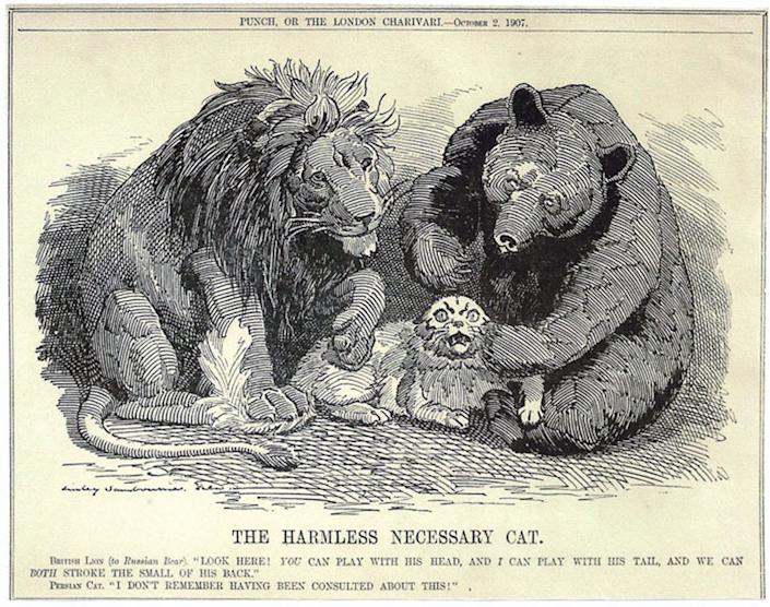 """<span class=""""caption"""">Cartoon from 1907 satirizing Russia and England dividing up Persia.</span> <span class=""""attribution""""><span class=""""source"""">Punch/Pushkin House</span></span>"""