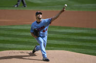 Minnesota Twins pitcher Rich Hill throws against the Cincinnati Reds during the first inning of a baseball game Sunday, Sept. 27, 2020, in Minneapolis. (AP Photo/Craig Lassig)