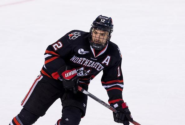 """BOSTON, MA – FEBRUARY 6: Zach Aston-Reese #12 of the <a class=""""link rapid-noclick-resp"""" href=""""/ncaab/teams/nay/"""" data-ylk=""""slk:Northeastern Huskies"""">Northeastern Huskies</a> skates against the Harvard Crimson during NCAA hockey in the semifinals of the annual Beanpot Hockey Tournament at TD Garden on February 6, 2017 in Boston, Massachusetts. The Crimson won 4-3. (Photo by Richard T Gagnon/Getty Images)"""