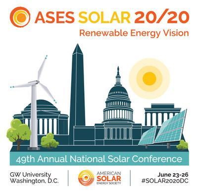 SOLAR 20/20 is American Solar Energy Society's 49th Annual National Solar Conference, held at GW University June 23-26. Join the solar community for a week of sharing bold ideas and solutions. Informative sessions, innovative research, and lobbying on Capitol Hill for 100% Renewable Energy.