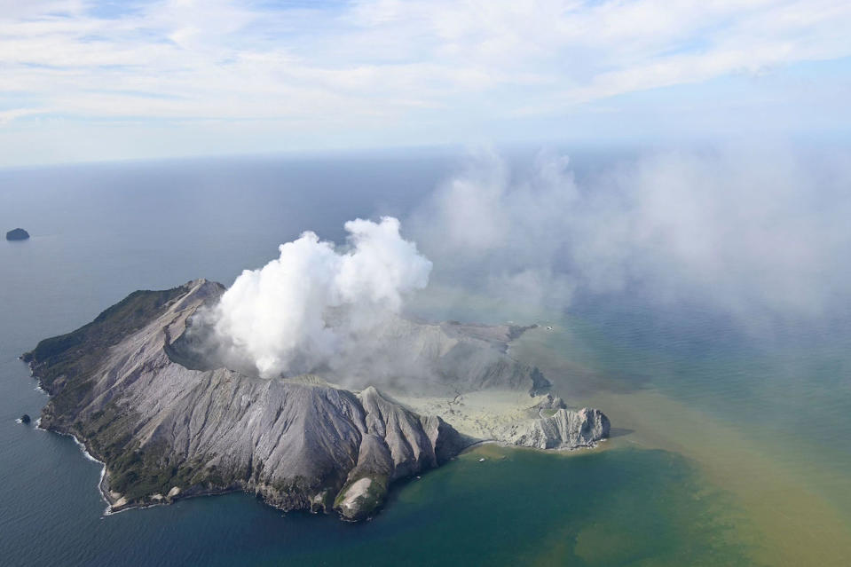 This aerial photo shows White Island after its volcanic eruption in New Zealand (Picture: AP)