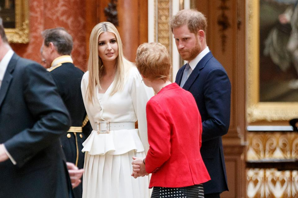 LONDON, ENGLAND - JUNE 03: Ivanka Trump (L), daughter of US President Donald Trump, and Britain's Prince Harry, Duke of Sussex, (R) view American items in the Royal collection at Buckingham Palace on June 3, 2019 in London, England. President Trump's three-day state visit will include lunch with the Queen, and a State Banquet at Buckingham Palace, as well as business meetings with the Prime Minister and the Duke of York, before travelling to Portsmouth to mark the 75th anniversary of the D-Day landings. (Photo by Tolga Akmen - WPA Pool/Getty Images)