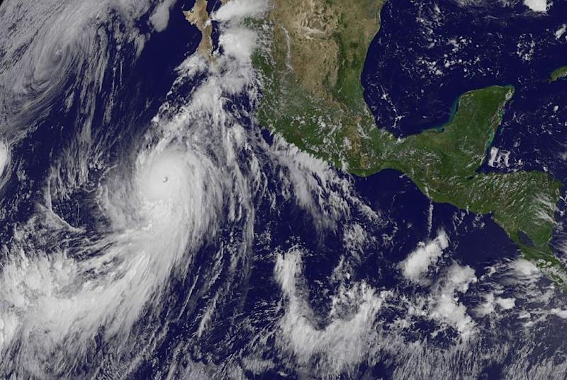 This August 24, 2014 1745 UTC NASA GOES satellite image shows Hurricane Marie, the eighth of the season, in the eastern Pacific near Mexico