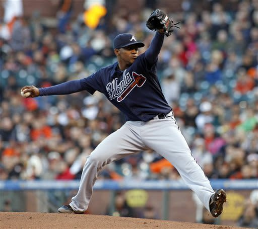 Atlanta Braves pitcher Julio Teheran throws to the San Francisco Giants during the first inning of a baseball game, Thursday, May 9, 2013, in San Francisco. (AP Photo/George Nikitin)