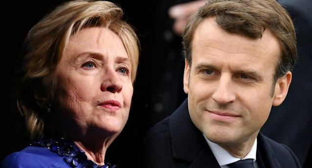 Hillary Clinton; Emmanuel Macron (Photos: Astrid Stawiarz/Getty Images; Jeff J. Mitchell/Getty)