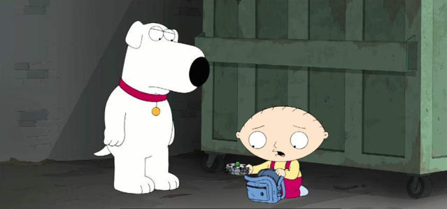 """Stewie decides to destroy his time machine after too many close calls with altering the course of mankind when he and Brian travel back to 17th Century Jamestown in the """"Life of Brian"""". (Photo by FOX Image Collection via Getty Images)"""