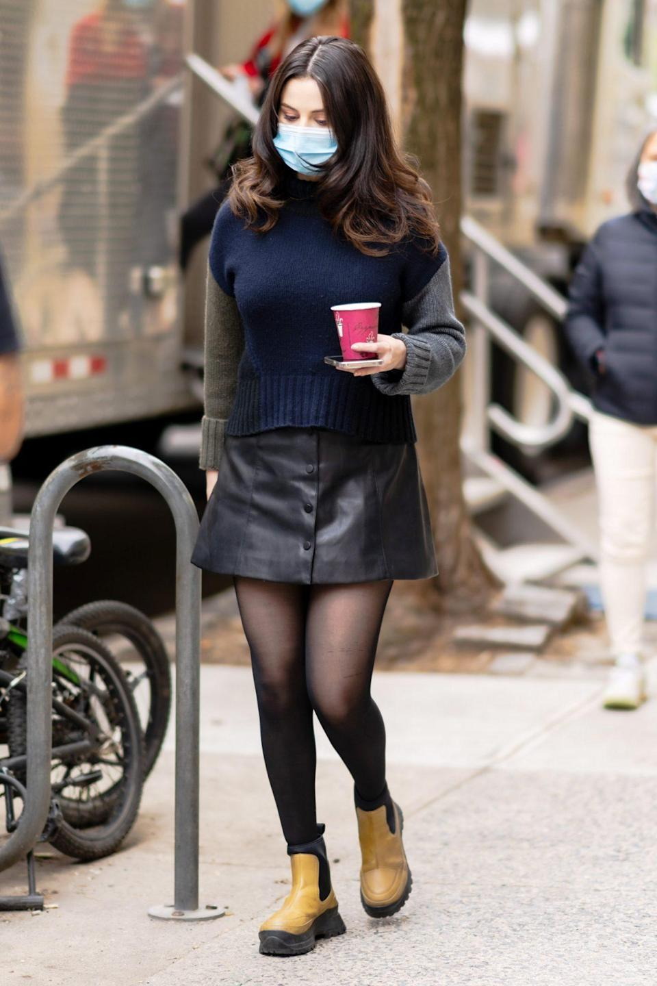<p>Selena Gomez fuels up on the set of <i>Only Murderers in the Building</i> in N.Y.C. on Saturday. </p>