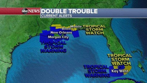 PHOTO: Here are all the Watches and Warnings for the region this morning along with new Tropical Storm Warnings that have been issued for Laura in the Florida Keys, including Key West. (ABC News)