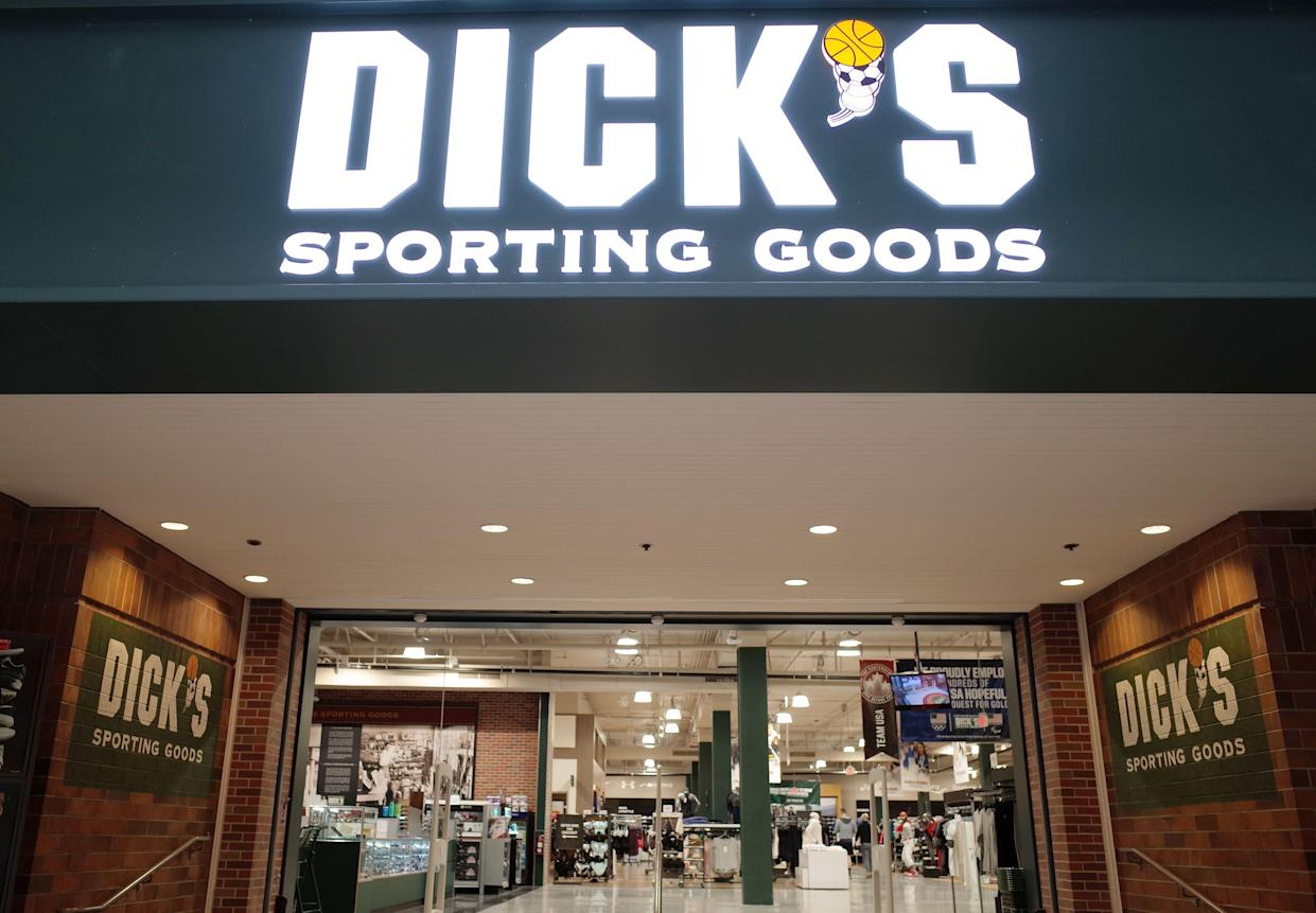 The entrance to the Dick's Sporting Goods store is seen in Glendale, California on February 28, 2018. Dick's, one of the nation's largest sports retailers, said February 28 that it was immediately ending sales of all assault-style rifles in its stores. The retailer also said that it would no longer sell high-capacity magazines and that it would not sell any gun to anyone under 21 years of age, regardless of local laws. / AFP PHOTO / Robyn Beck (Photo credit should read ROBYN BECK/AFP/Getty Images)