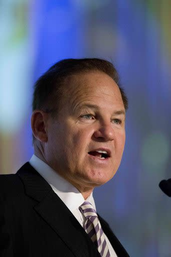 LSU coach Les Miles speaks to the media at the Southeastern Conference NCAA college football media days, Thursday, July 16, 2015, in Hoover, Ala. (AP Photo/Brynn Anderson)