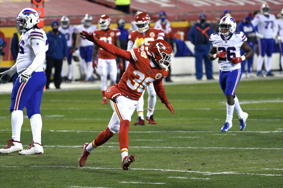 Kansas City Chiefs safety L'Jarius Sneed celebrates after sacking Buffalo Bills quarterback Josh Allen during the first half of the AFC championship NFL football game, Sunday, Jan. 24, 2021, in Kansas City, Mo. (AP Photo/Reed Hoffmann)
