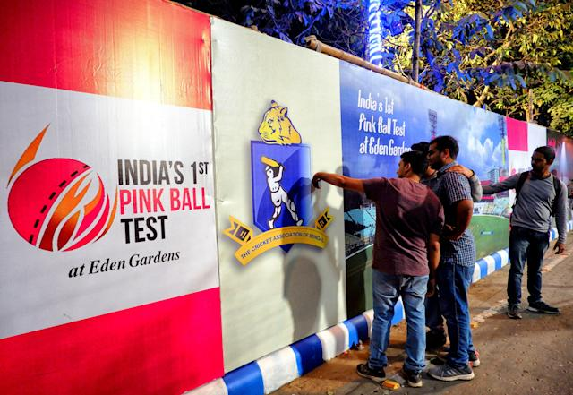 EDEN GARDEN, KOLKATA, WEST BENGAL, INDIA - 2019/11/21: Cricket Fan's taking selfie in front of the stadium. Kolkata is celebrating the glory of organising the 1st Pink Ball Test Cricket Match in India and within Asia between India and Bangladesh from 22 -26 November, 2019 at Eden Garden Stadium. (Photo by Avishek Das/SOPA Images/LightRocket via Getty Images)