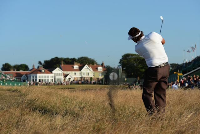 GULLANE, SCOTLAND - JULY 19: Phil Mickelson of the United States hits a shot on the 18th during the second round of the 142nd Open Championship at Muirfield on July 19, 2013 in Gullane, Scotland. (Photo by Stuart Franklin/Getty Images)