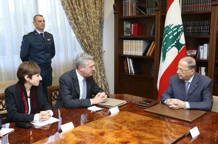 Lebanon's President Michel Aoun meets with United Nations High Commissioner for Refugees Filippo Grandi at the presidental palace in Baabda