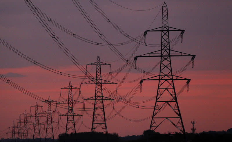 FILE PHOTO - The sun rises behind electricity pylons near Chester
