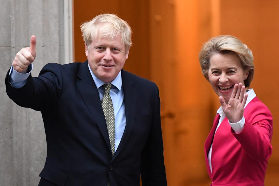 """Britain's Prime Minister Boris Johnson greets European Commission President Ursula von der Leyen outside 10 Downing Street in central London on January 8, 2020, ahead of their meeting. - The EU's top official on Wednesday predicted """"tough talks"""" with Britain on the sides' future relations after Brexit enters force after years of delays at the end of the month. """"There will be tough talks ahead and each side will do what is best for them,"""" European Council president Ursula von der Leyen said ahead of her first official meeting with Prime Minister Boris Johnson. (Photo by Daniel LEAL-OLIVAS / AFP) (Photo by DANIEL LEAL-OLIVAS/AFP via Getty Images)"""