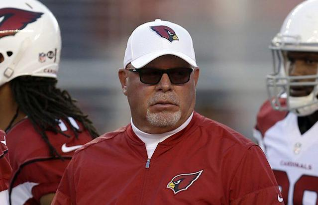 Cardinals coach Bruce Arians was told officials couldn't review a key play against the Panthers (AP)