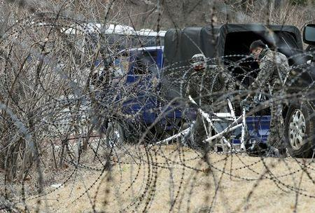 A barbed-wire fence is set up around a golf course owned by Lotte, where the U.S. Terminal High Altitude Area Defense (THAAD) system will be deployed, in Seongju
