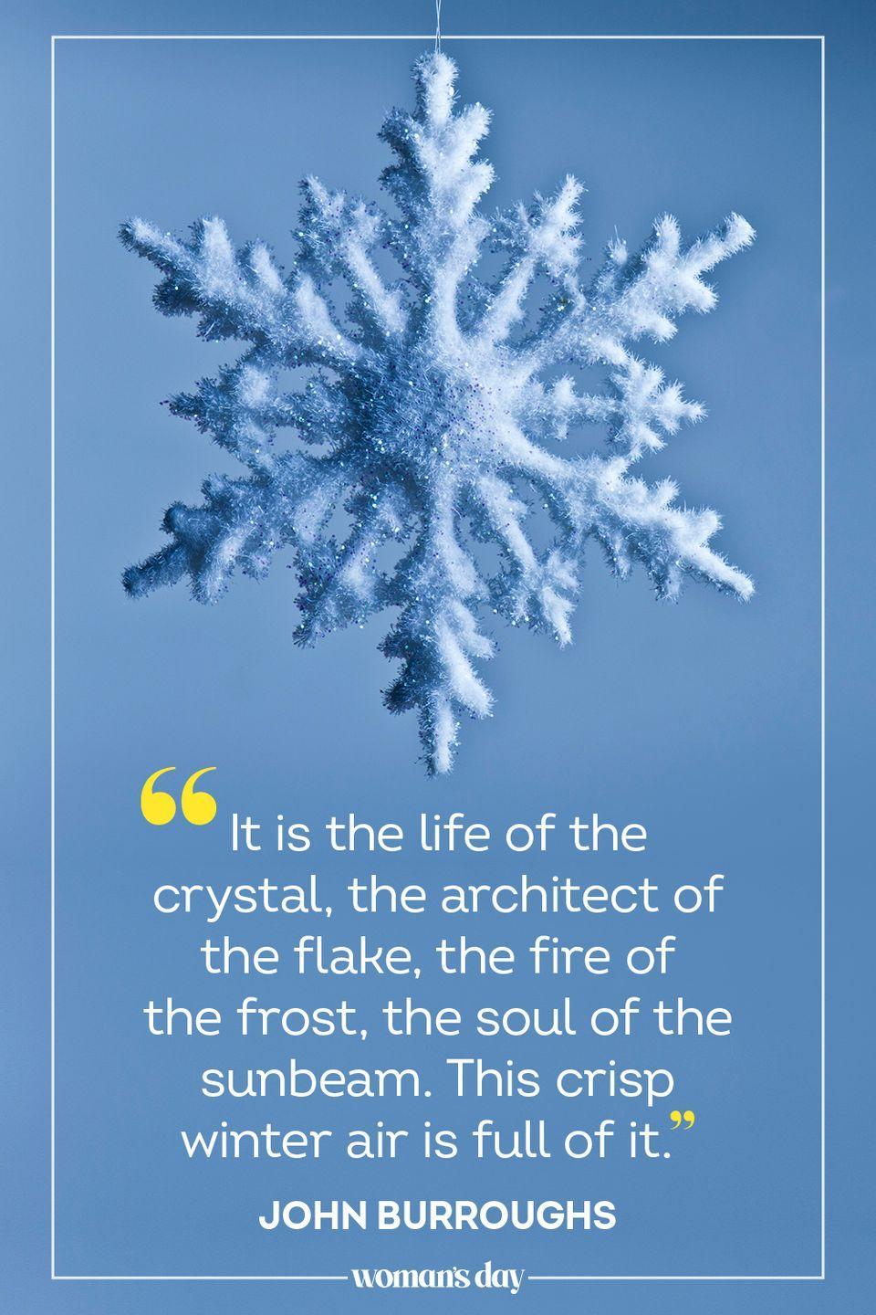 "<p>""It is the life of the crystal, the architect of the flake, the fire of the frost, the soul of the sunbeam. This crisp <a href=""https://www.brainyquote.com/quotes/john_burroughs_760772"" rel=""nofollow noopener"" target=""_blank"" data-ylk=""slk:winter air"" class=""link rapid-noclick-resp"">winter air</a> is full of it."" — John Burroughs</p>"