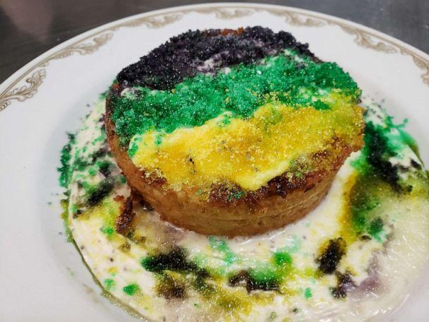 PHOTO: A King cake-inspired bread pudding for Mardi Gras. (ABC News)