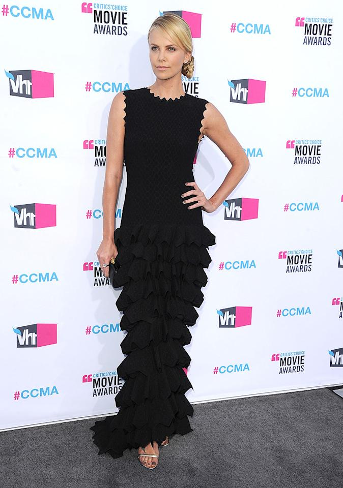 """<a href=""""http://movies.yahoo.com/movie/contributor/1800019484"""">Charlize Theron</a> at the 17th Annual Critics' Choice Awards in Hollywood on January 12, 2012."""