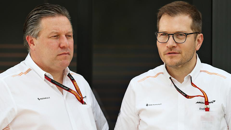 McLaren's Zak Brown and team principal Andreas Seidl are confident Daniel Ricciardo can get to grips with the car. (Photo by Charles Coates/Getty Images)
