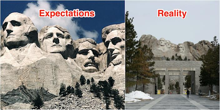 Many visitors are surprised to find Mount Rushmore appears much smaller in person.