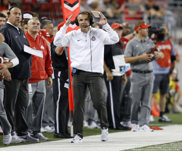 Ohio State coach Urban Meyer reacts to a play against Oklahoma on Saturday, Sept. 10. (AP)