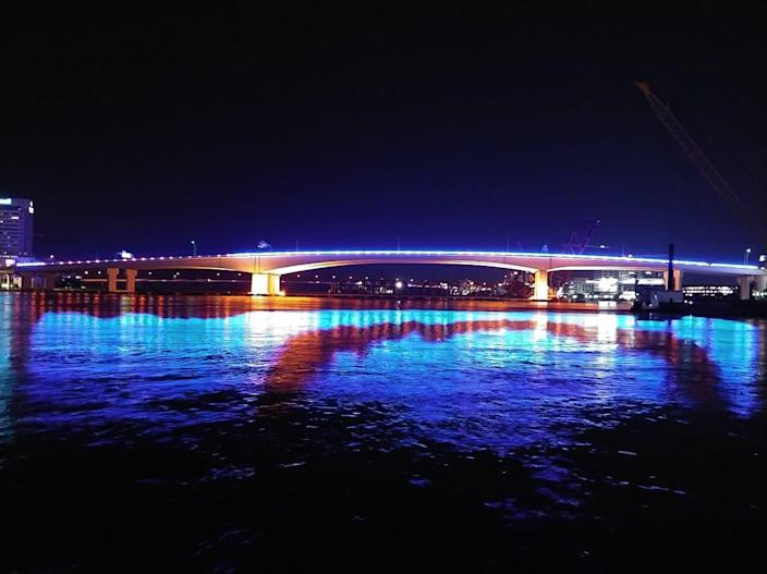 Acosta Bridge, with blue lights, in Downtown Jacksonville, Fla., on Tuesday , June 8, 2021.