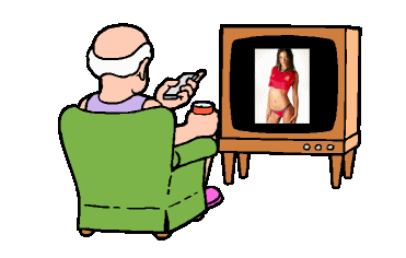Cartoon of elderly man watching television