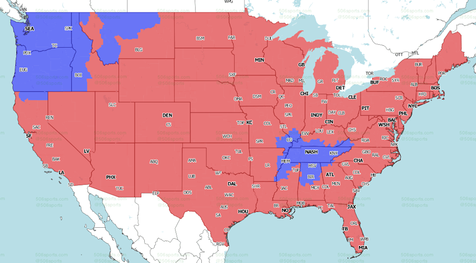 506sports.com coverage map for CBS Sports Late Game, the majority of the country will watch Cowboys versus Chargers.