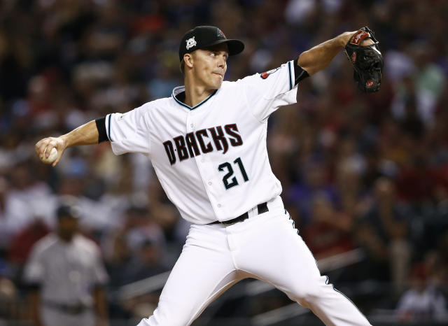Zack Greinke struggled in the Diamondbacks wild-card win against the Rockies. Now he'll get the ball again in NLDS Game 3 against the Dodgers with the season on the line again. (AP)