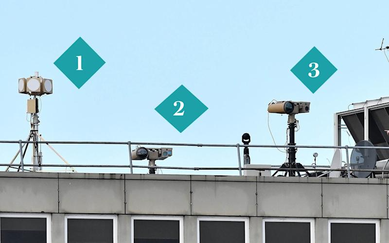 The military grade equipment employed by police on top of the Gatwick Airport roof - AFP or licensors