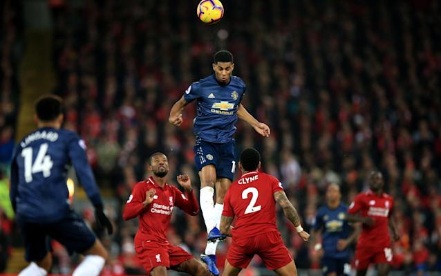 Manchester United's Marcus Rashford was well marshalled by the Liverpool defence