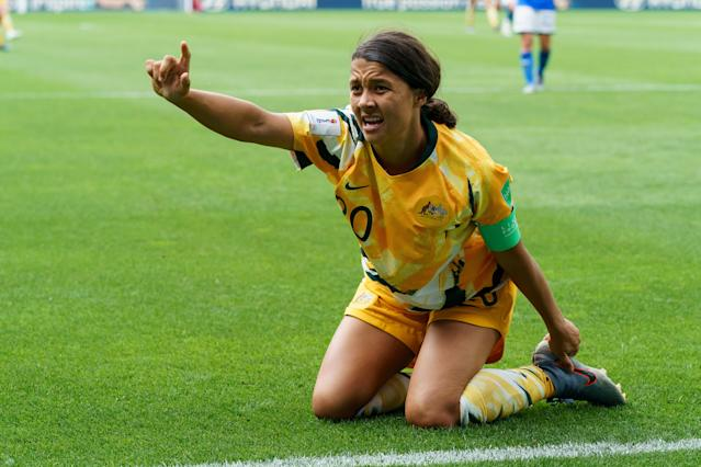 Sam Kerr of Australia gestures during the 2019 FIFA Women's World Cup France group C match between Australia and Italy at Stade du Hainaut on June 9, 2019 in Valenciennes, France. (Photo by TF-Images/Getty Images)