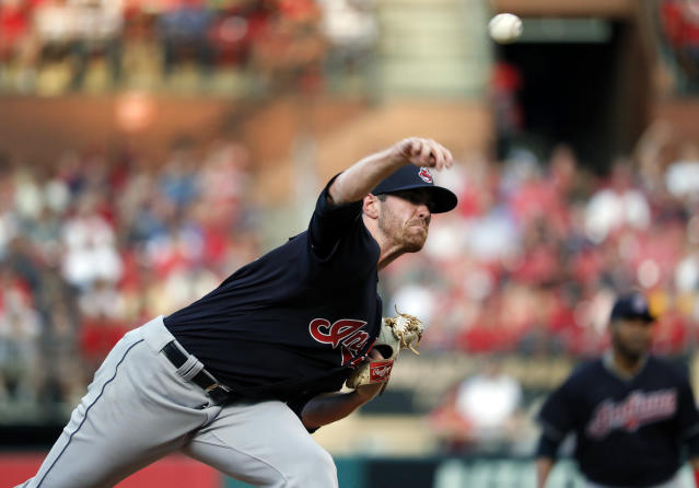 Cleveland Indians starting pitcher Shane Bieber throws during the second inning of the team's baseball game against the St. Louis Cardinals on Wednesday, June 27, 2018, in St. Louis. (AP Photo/Jeff Roberson)