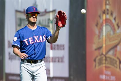 Yu Darvish warms up prior to the start of Saturday's game. (USAT)