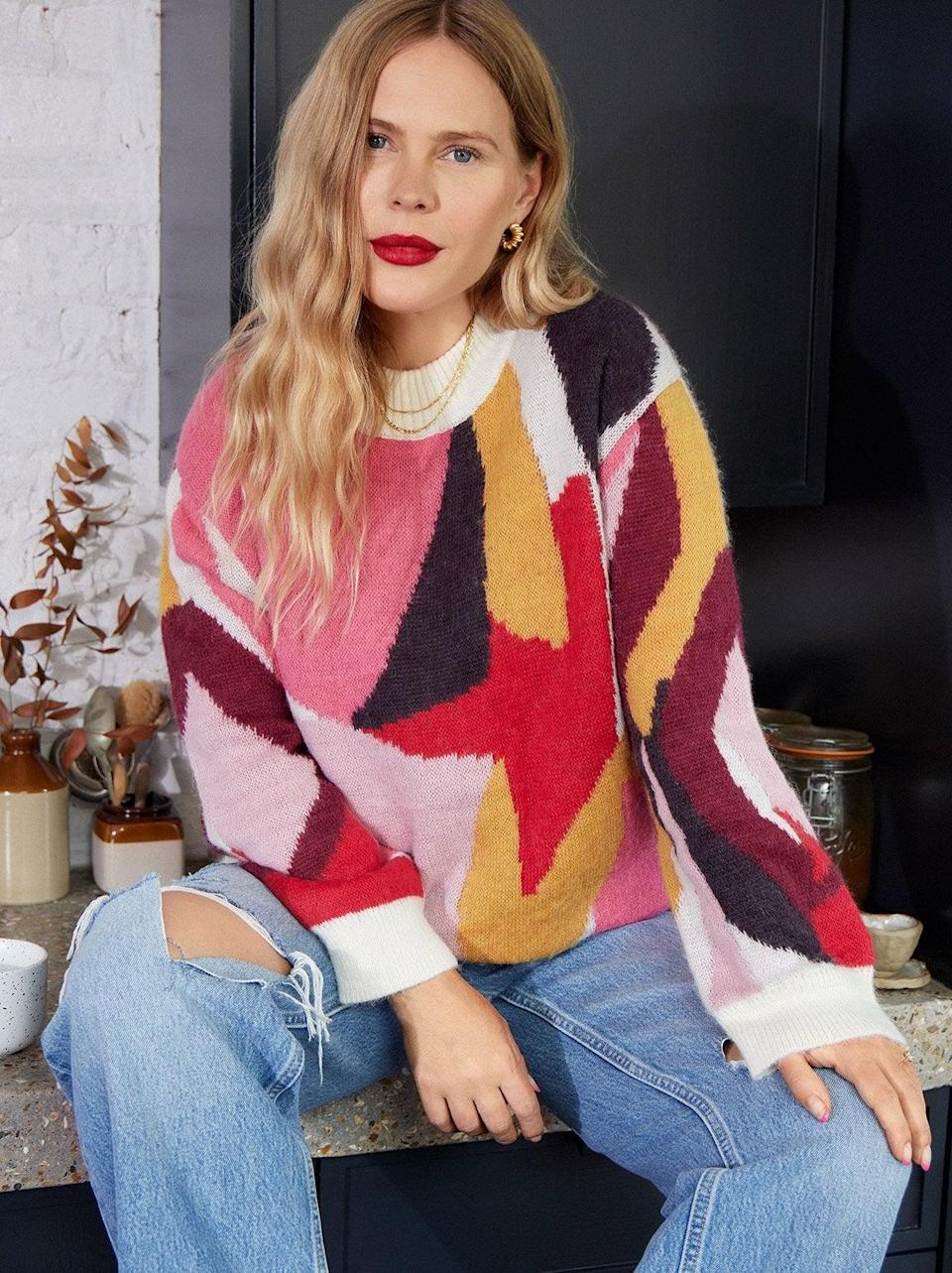 """<br><br><strong>Kitri x Jessie Bush</strong> Phoebe Abstract Intarsia Sweater, $, available at <a href=""""https://kitristudio.com/products/phoebe-abstract-intarsia-sweater?variant=39519996805171"""" rel=""""nofollow noopener"""" target=""""_blank"""" data-ylk=""""slk:Kitri"""" class=""""link rapid-noclick-resp"""">Kitri</a>"""