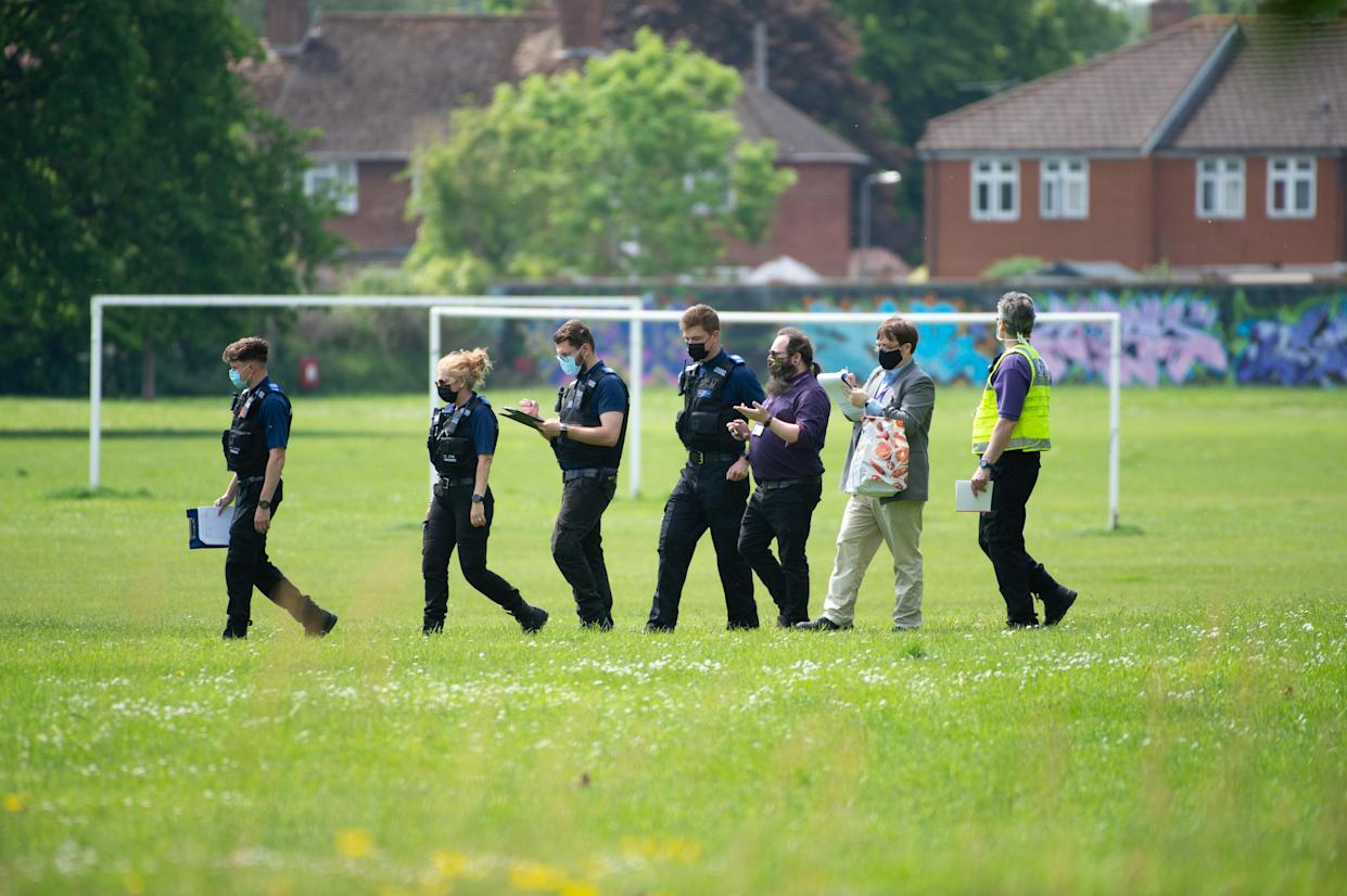 Police moved the travellers on from outside Windsor Castle. (SWNS)