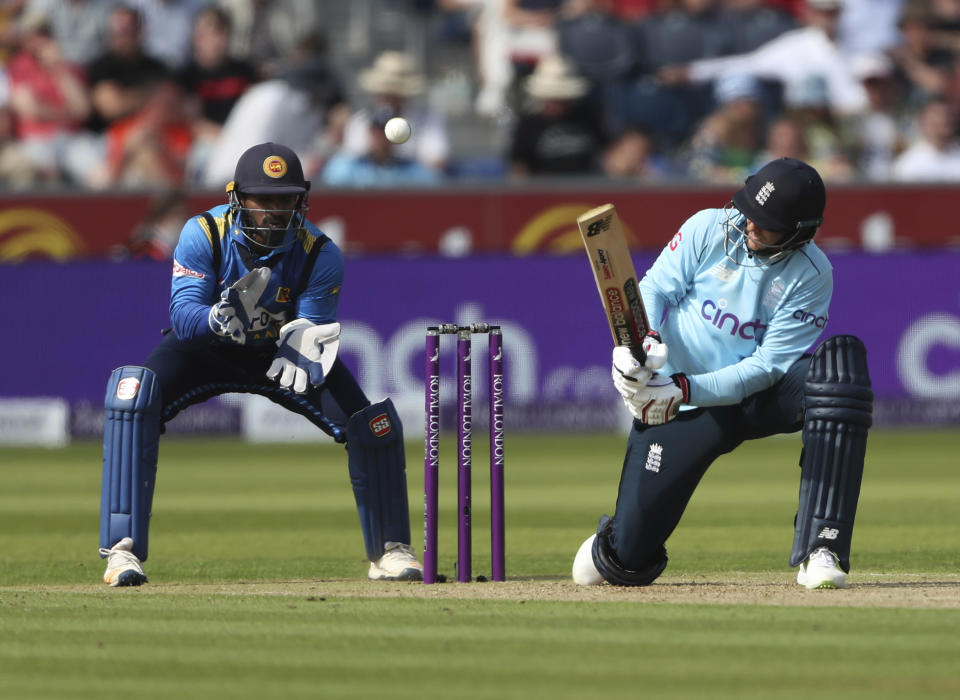 England's Joe Root, right, plays a shot during the first one day international cricket match between England and Sri Lanka, in Chester-le-Street, England, Tuesday, June 29, 2021. (AP Photo/Scott Heppell)