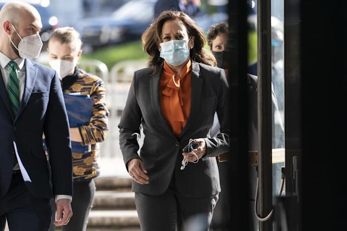 Democratic vice presidential candidate Sen. Kamala Harris, D-Calif., arrives on Capitol Hill for the confirmation hearing of Supreme Court nominee Amy Coney Barrett before the Senate Judiciary Committee, Tuesday, Oct. 13, 2020, on Capitol Hill in Washington. (AP Photo/Jacquelyn Martin)