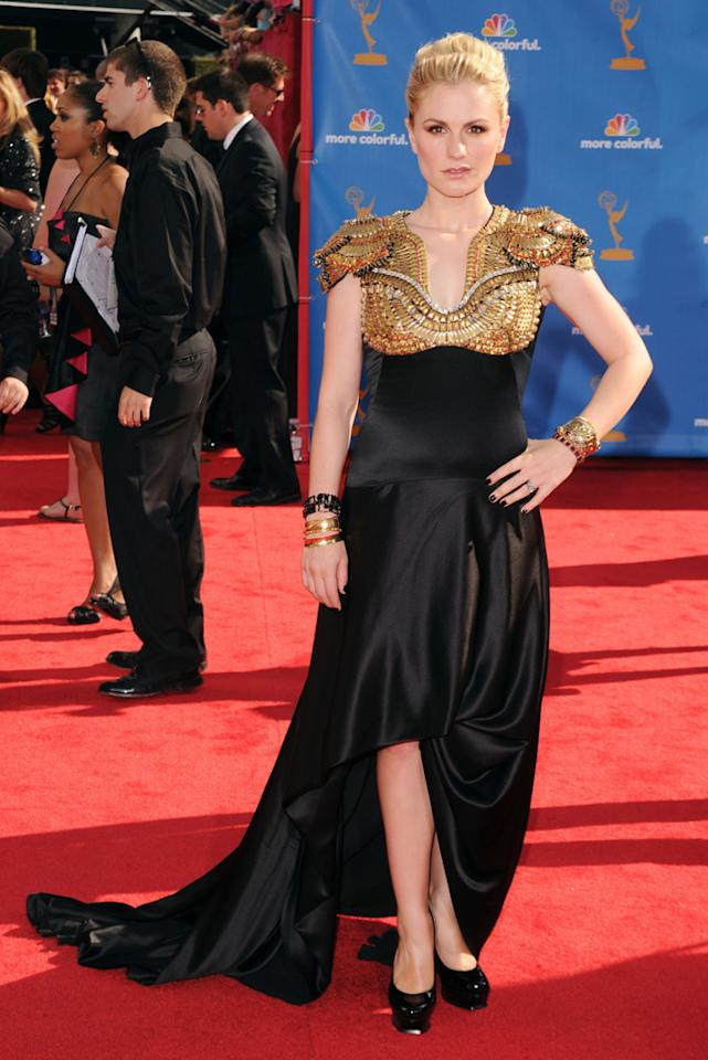"Anna Paquin<br> Grade: B<br><br> Though we loved the gold epaulette-style shoulder detailing on the ""True Blood"" beauty's daring Alexander McQueen dress, the black satin bottom left us feeling a little blah."