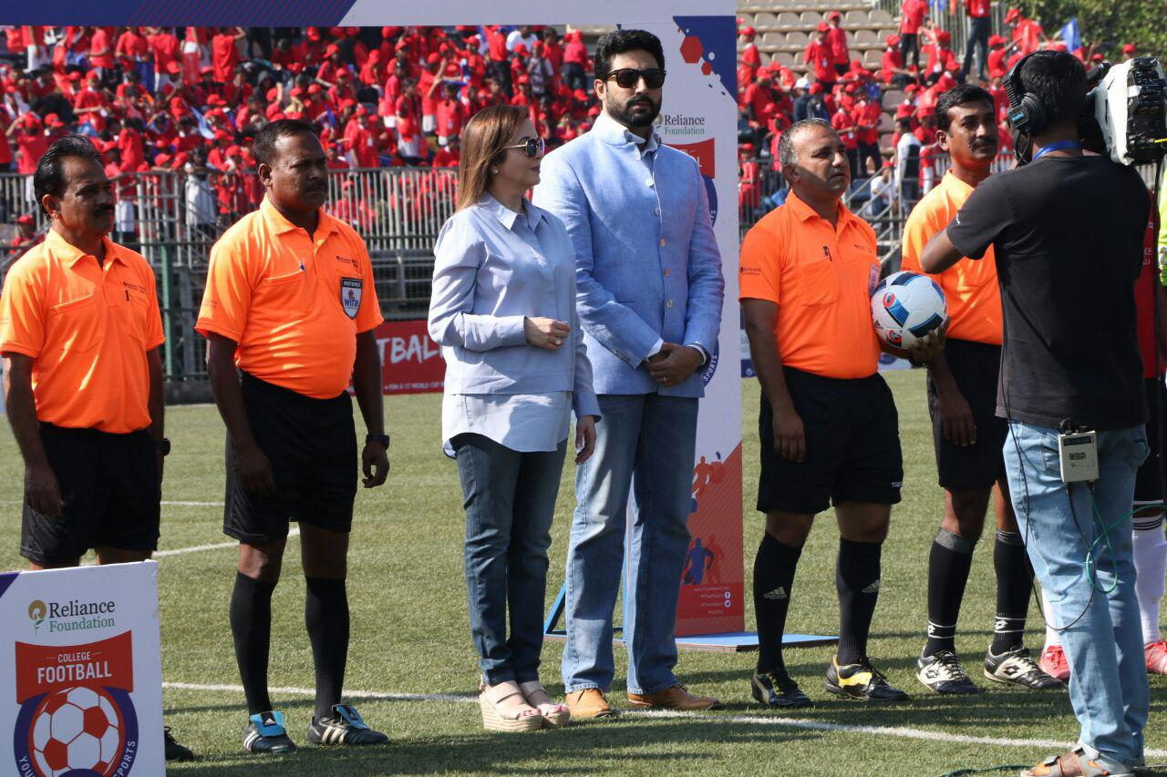Image result for Abhishek Bachchan, Nita Ambani attend a Soccer match